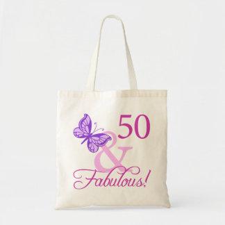50 y regalos de cumpleaños fabulosos (ciruelo) bolsa tela barata