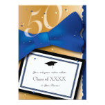 50 Year Class Reunion Royal Blue Accent Color 5x7 Paper Invitation Card