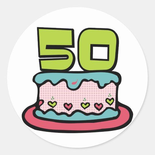 50 Year Old Birthday Cake Classic Round Sticker
