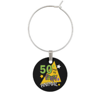 50 Year Old Party Animal | 50th Birthday Wine Charm
