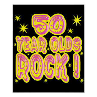 50 Year Olds Rock! (Pink) Poster Print