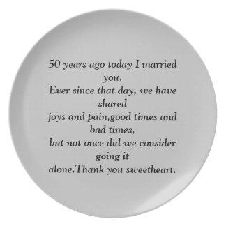 50 Years Ago Anniversary Plate. Plate