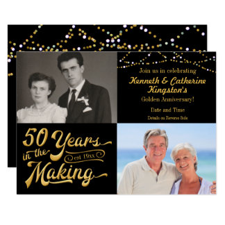 50 Years in the Making Anniversary Then & Now Pics Invitation