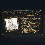 """50 Years in the Making, Black &amp; Gold 50th Birthday Banner<br><div class=""""desc"""">Welcome the party&#39;s honoree and guests with this 50th birthday banner designed in black and gold and featuring modern typography stating &quot;50 Years in the Making&quot; and lets you personalize it by adding their photo (a current one or one from their youth), their name and birth year as part of...</div>"""