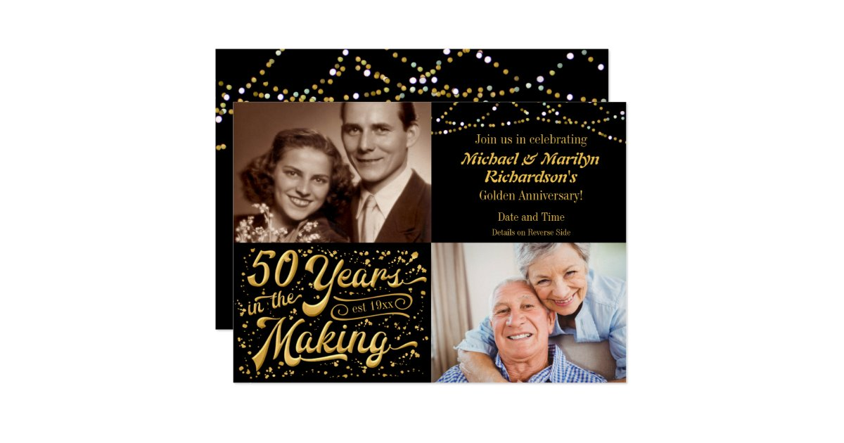 50 years in the making then & now anniversary card zazzle.com