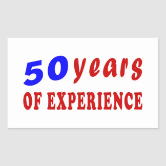 50 years of experience rectangle stickers