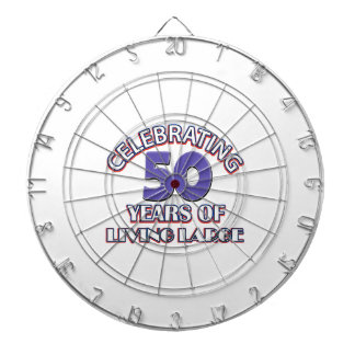 50 years of living large birthday designs dartboards