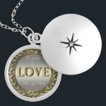 """50 Years of Love ID196 Locket Necklace<br><div class=""""desc"""">A scrollwork frame holds the text '50 years of love and marriage' and a template to enter the first names of the celebrating couple. The text is set off by a gold effect on a pale gradient background.</div>"""