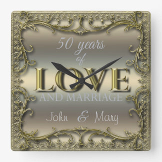 50 Years of Love ID196 Square Wall Clock