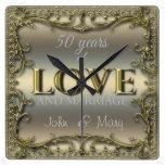 50 Years of Love Square Wall Clocks