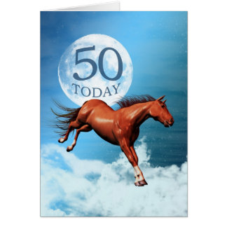 50 years old birthday card with spirit horse