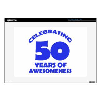 "50 years old birthday designs 15"" laptop skins"