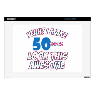 """50 YEARS OLD BIRTHDAY DESIGNS DECAL FOR 15"""" LAPTOP"""