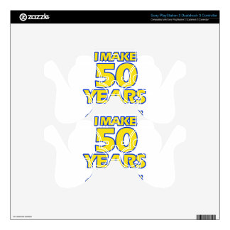 50 YEARS OLD BIRTHDAY DESIGNS PS3 CONTROLLER DECAL