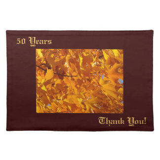 50 Years placemats Thank You Golden Leaves