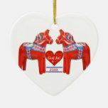 50 Years Together Dated Swedish Dala Horse Heart Christmas Tree Ornament