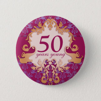 """""""50 years young"""" age damask elephant button/badge button"""