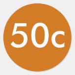 50c pegatinas redondas