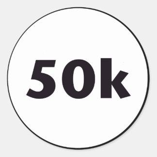 50k circle classic round sticker