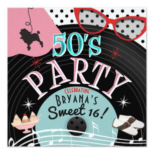 50s Theme Invitations Announcements Zazzle