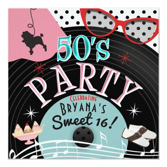 50s 1950s Record Theme Party Invitations