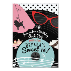 50's 1950's Record Theme Party Invitations