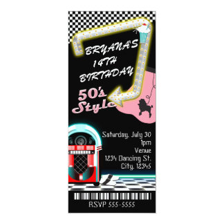 50's 1950's Style Theme Birthday Party Ticket Card