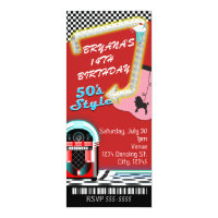 50's 1950's Style Theme Birthday Party Ticket Invitation