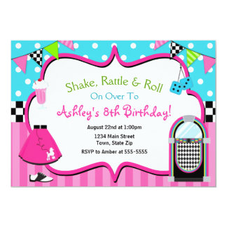 50's Birthday Invitation Sock Hop Juke Box Invite