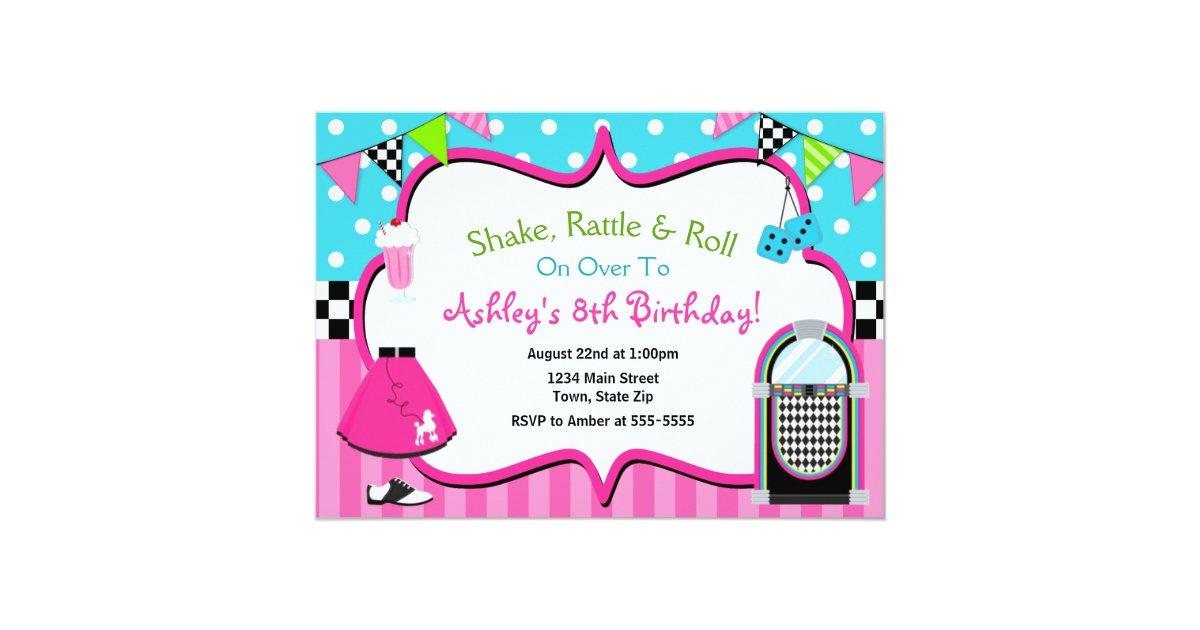 50\'s Birthday Invitation Sock Hop Juke Box Invite | Zazzle.com