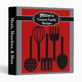 50s Checkerboard Famous Recipes Vinyl Binders