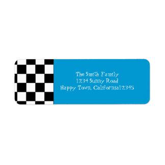 50's Checkered Return Address Label