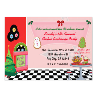 50's Diner Christmas Cookie Exchange Invitations. Card
