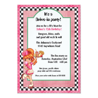 50's Drive-In Waitress Birthday Invitation