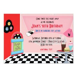 50's Fifties Diner Sock Hop Party Invitations