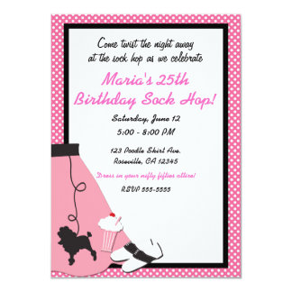 50's fifties Sock Hop Pink Poodle Skirt Party Card