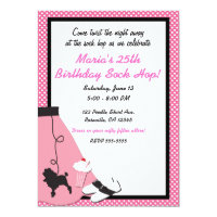 50's fifties Sock Hop Pink Poodle Skirt Party Invitation