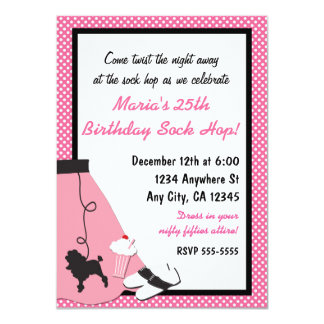 50's fifties Sock Hop Poodle Skirt Invitations