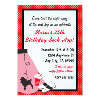 50's fifties Sock Hop Poodle Skirt Red Invitations