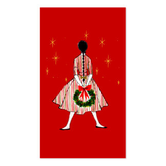 50s Girl Christmas Gift Tags Double-Sided Standard Business Cards (Pack Of 100)