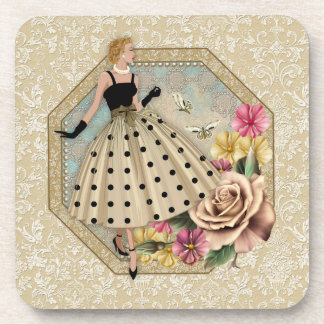 50's Glamour coasters with cork back - set of 6