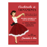 50's Housewife Christmas Holiday Glitter Skirt Fur 5x7 Paper Invitation Card