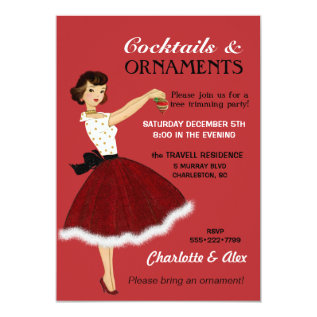 50's Housewife Christmas Holiday Glitter Skirt Fur Card at Zazzle