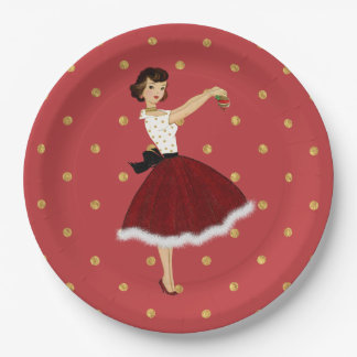 50's Housewife Christmas Holiday Glitter Skirt Fur Paper Plate
