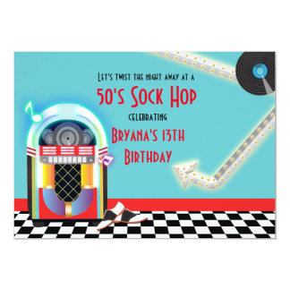 50's Jukebox Dance Party Sock Hop Red Invitation