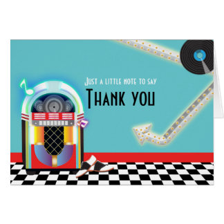 50's Jukebox Dance Party Sock Hop Thank You Card