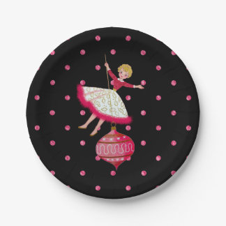 50s Lady Swinging on a Christmas Ornament Paper Plate