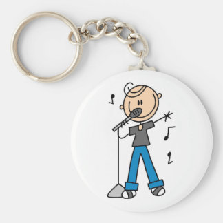 50s Male Singer Stick figure t-shirts and Gifts Basic Round Button Keychain