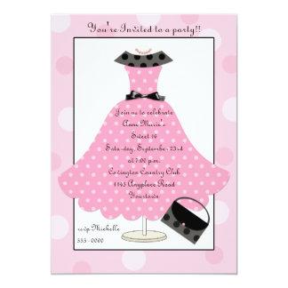 50s Pink Polkadot Dress Birthday Invitation