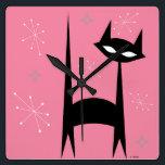 "50&#39;s Retro Black Cat Pink Pop Art Clock<br><div class=""desc"">50&#39;s Retro Black Cat Pink Pop Art Clock</div>"